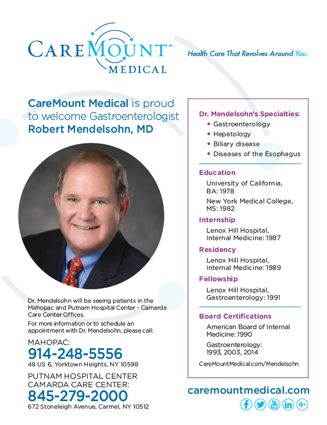 CareMount Medical is proud to welcome Gastroenterologist